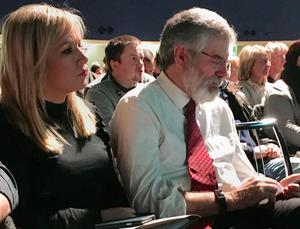 Michelle O'Neill and Gerry Adams at a SF conference on Irish Unity at Dublin's Mansion House. Sinn Fein/PA Wire