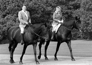 File photo dated 08/06/82 of the then US President Ronald Reagan and Queen Elizabeth II riding in Windsor Home Park, as more than any other interest, horses and ponies have been the Queen's passion throughout her long life. PRESS ASSOCIATION Photo. Issue date: Sunday April 3, 2016. The monarch's love for the equine world is something she shared with her mother and she has been breeding and racing horses for more than 60 years. See PA story ROYAL Birthday Horse. Photo credit should read: PA Wire