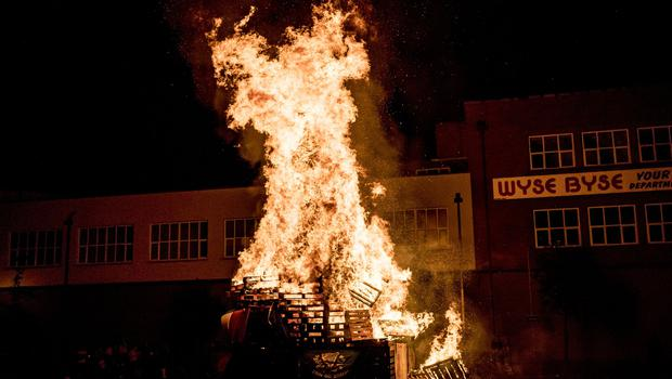 The replacement bonfire at the Walkway - relocated to Connswater shopping centre is lit in Belfast on July 12th 2018 (Photo by Kevin Scott for Belfast Telegraph)