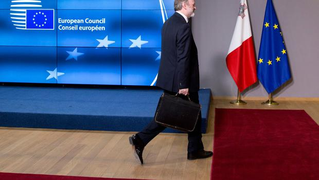Tim Barrow, the UK Permanent Representative to the EU, arrives at the Europa building in Brussels on Wednesday, March 29, 2017. British Prime Minister Theresa May has signed a letter invoking Article 50 of the bloc's key treaty, the formal start of exit negotiations. (AP Photo/Virginia Mayo)