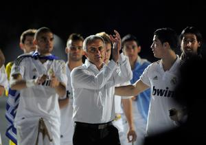 FILE - JUNE 02, 2013:  Jose Mourinho has been confirmed as Chelsea FC manager, returning to the club for a second term in charge, having left the club in 2007. MADRID, SPAIN - MAY 13: Real Madrid CF head coach Jose Mourinho (C) celebrates the La Liga title with Cristiano Ronaldo (R) after the La Liga match between Real Madrid CF and RCD Mallorca at Estadio Santiago Bernabeu on May 13, 2012 in Madrid, Spain.  (Photo by Denis Doyle/Getty Images)