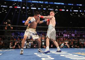 Leo Santa Cruz with Carl Frampton during Saturday nights WBA featherweight title contest at the Barclays Centre, Brooklyn, NY.  Press Eye - Belfast -  Northern Ireland - 30th July 2016 - Photo by William Cherry