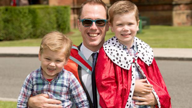Gavin McLean graduated with a Doctor of Medicine from Queens University Belfast, pictured here with his two sons Oliver (5) and Finn (3).