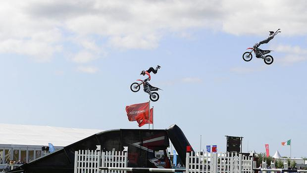 Pacemaker Press Belfast: 16/5/2018:   The Balmoral Show has begun with the first of four days of events to showcase food and farming in Northern Ireland. As well as a range of livestock classes, the event hosts hundreds of trade stands displaying everything from crafts to machinery.  Big Air Motocross Freestyle Jumps at the Balmoral Show. Picture By: Arthur Allison. Pacemaker Press.