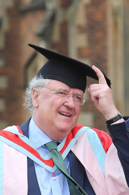 Belfast native and Queen's graduate, Michael P. O'Boyle, who has been awarded an honorary degree from Queen's University Belfast for his distinguished career in International Human Rights Law, particularlythe European Court of Human Rights in Strasbourg