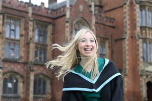 Emma Francis, who is graduating today with a Bachelor's Degree in Psychology from Queen's University Belfast. Emma, from west Lancashire in England, has helped develop the first ever mental health campaign at Queen's.