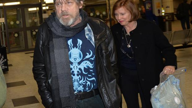 Pacemaker Press 13/5/2016  Mark Hamill (Luke Skywalker) pictured as Star Wars Cast Members arrive at Belfast International Airport on Friday Morning , They are due to film Star Wars Episode VIII at   Malin Head in Co Donegal.  The entire shoot is very much top secret, with locals and landowners sworn to keep it that way, and access to the beauty spot is closed for the next three days. Pic Colm Lenaghan/Pacemaker