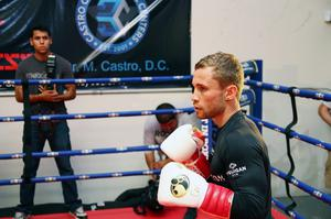 Press Eye - Belfast -  Northern Ireland - 15th July 2015 - Boxer Carl Frampton (right) is pictured during an open training session in El Paso, Texas before  defending his IBF World title against Alejandro Gonzalez Jr on Saturday evening.  Picture by Jorge Salgado / Press Eye