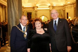 Belfast Lord Mayor, Arder Carson, with guests at the Civic Dinner in City Hall to mark the Centanary of the Easter Rising, The Lord Lieutenant Fionnuala Jay O'Boyle and Charles Flanagan TD. Pic By Paul Moane / Aurora PA