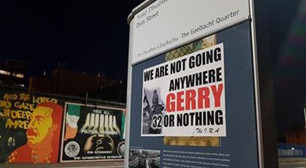 One of the posters put up in the Falls Road area.