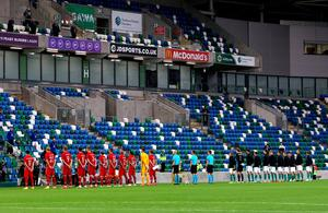 Northern Ireland and Norway players line up to sing their national anthems prior to the beginning of the UEFA Nations League Group 1, League B match at Windsor Park, Belfast. PA Photo. Picture date: Monday September 7, 2020. See PA story SOCCER N Ireland. Photo credit should read: Liam McBurney/PA Wire. RESTRICTIONS: Editorial use only, No commercial use without prior permission. during the UEFA Nations League Group 1, League B match at Windsor Park, Belfast. PA Photo. Picture date: Monday September 7, 2020. See PA story SOCCER N Ireland. Photo credit should read: Liam McBurney/PA Wire. RESTRICTIONS: Editorial use only, No commercial use without prior permission.