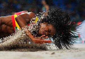 Juliet Itoya of Spain competes during the Women's Long Jump Qualifying Round on Day 11 of the Rio 2016 Olympic Games at the Olympic Stadium on August 16, 2016 in Rio de Janeiro, Brazil.  (Photo by Shaun Botterill/Getty Images)