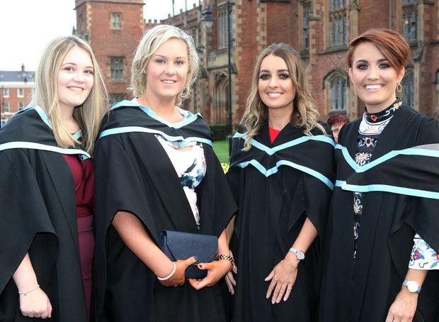 Graduations take place at Queens University in Belfast. Lauren Allen from Ballymena, Sinead Brannigan from Ballymartin, Laurie Armstrong from Bangor and Caoimhe Beggan from Fermanagh