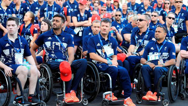 The Paralympic GB team watch the Welcome Ceremony at the Athletes Village ahead of the 2016 Rio Paralympic Games, Brazil. PRESS ASSOCIATION Photo. Picture date: Sunday September 4, 2016. Photo credit should read: Adam Davy/PA Wire. EDITORIAL USE ONLY