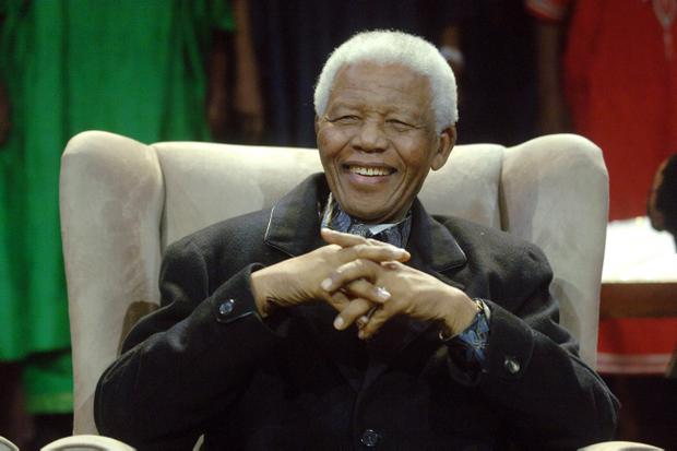 Former South African President Nelson Mandela sitting at the Annual Nelson Mandela Lecture in Soweto, Johannesburg, on July 12, 2008.