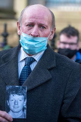Patrick McElhone's brother Mickey outside Omagh Courthouse on Thursday. Picture Martin McKeown. 21.01.21