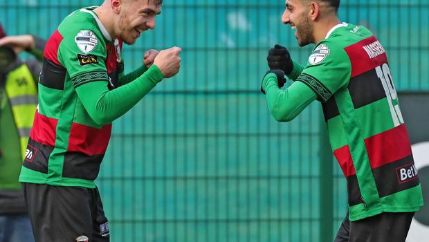 Pacemaker Belfast 1-2-20 Queen's University v Glentoran - Sadler's Peaky Blinder Irish Cup Glentoran's Robbie McDaid celebrates his second goal  during today's game at The Dub, Belfast.  Photo by David Maginnis/Pacemaker Press