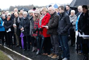General View of a memorial service at the site of the Teebane massacre in Co Tyrone ahead of next week's 25th anniversary of the killings.  Eight men died and six others were injured when the IRA exploded a roadside bomb on 17 January 1992.  Those caught up in the attack were all construction workers traveling in a van on their way home from Omagh.  Photo by Peter Morrison/Press Eye.