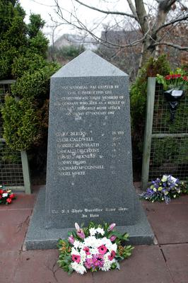 Flowers at the memorial site of the Teebane massacre in Co Tyrone ahead of next week's 25th anniversary of the killings.  Eight men died and six others were injured when the IRA exploded a roadside bomb on 17 January 1992.  Those caught up in the attack were all construction workers traveling in a van on their way home from Omagh.  Photo by Peter Morrison/Press Eye.