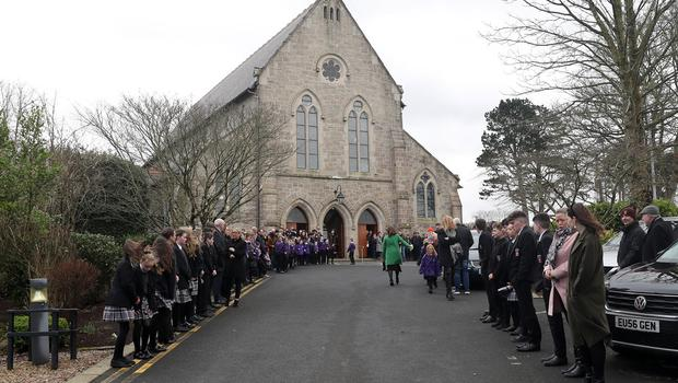 The funeral of Former MLA Francie Brolly in Dungiven at St Patricks Church. The well- known politician and singer died suddenly at his home.  Press Eye.