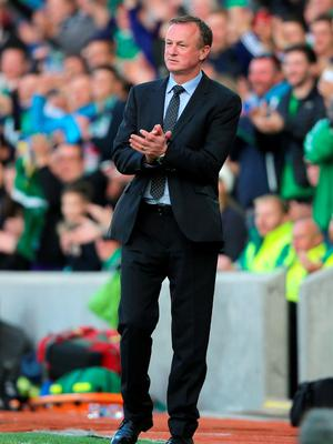 Northern Ireland manager Michael O'Neill during the International Friendly at Windsor Park, Belfast. PRESS ASSOCIATION Photo. Picture date: Friday May 27, 2016. See PA story SOCCER N Ireland. Photo credit should read: Niall Carson/PA Wire. RESTRICTIONS: Editorial use only, No commercial use without prior permission, please contact PA Images for further information: Tel: +44 (0) 115 8447447.