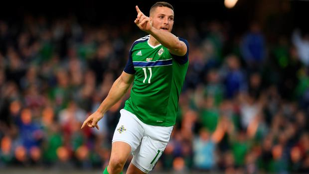 BELFAST, NORTHERN IRELAND - MAY 27: Conor Washington of Northern Ireland celebrates after scoring during the international friendly game between Northern Ireland and Belarus on May 26, 2016 in Belfast, Northern Ireland. (Photo by Charles McQuillan/Getty Images)