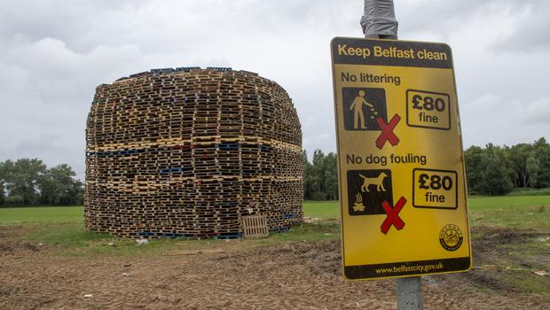 Belfast Telegraph  09-07-2017 East Belfast Bonfire at Inverary playing fields that has an injunction by Belfast City Council  in place to stop wood from being dumped at the site and added to the bonfire.