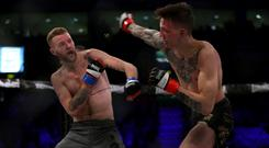 Tim Barnett and Rhys McKee battle it out on the BAMMA card at the SSE Arena in February 2017 (Matt Mackey/Press Eye)