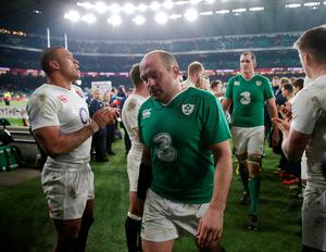 Ireland's Rory Best looks dejected at the end of the 2016 RBS Six Nations match at Twickenham Stadium, London.