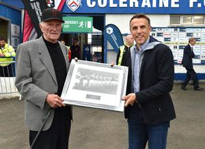 Saturday 21st  July 2018 Supercup NI match between Celtic u19's and Manchester United u19's at Coleraine Showgrounds.  Manchester United legend Phil Neville pictured at tonights game presenting Harry Gregg Mandatory Credit: Stephen Hamilton /Presseye