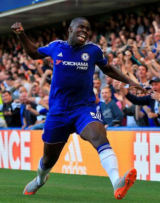 """Chelsea's Kurt Zouma celebrates scoring his side's first goal during the Barclays Premier League match at Stamford Bridge, London. PRESS ASSOCIATION Photo. Picture date: Saturday September 19, 2015. See PA story SOCCER Chelsea. Photo credit should read: John Walton/PA Wire. RESTRICTIONS: EDITORIAL USE ONLY No use with unauthorised audio, video, data, fixture lists, club/league logos or """"live"""" services. Online in-match use limited to 45 images, no video emulation. No use in betting, games or single club/league/player publications."""