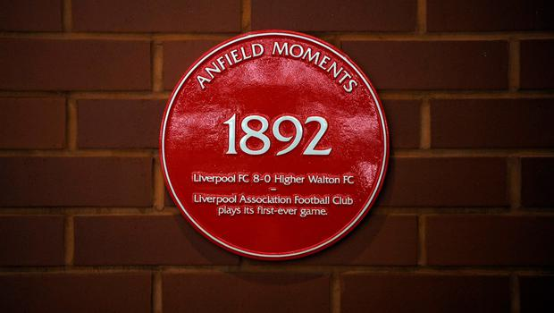 A plaque is pictured on a wall inside Anfield football stadium, during a media of Liverpool Football Club's new main stand, at Anfield stadium in Liverpool, north-west England, on September 9, 2016. / AFP PHOTO / PAUL ELLISPAUL ELLIS/AFP/Getty Images