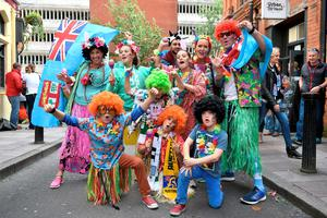 Fiji fans in fancy dress before the Rugby World Cup match at the Millennium Stadium, Cardiff. Photo: PA
