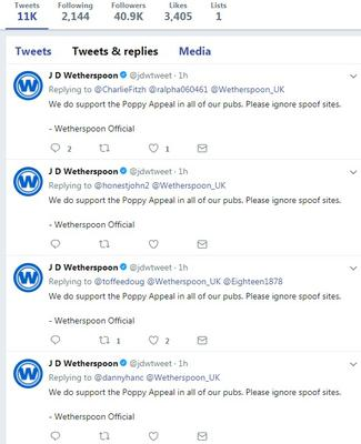The real account is now replying to multiple customers