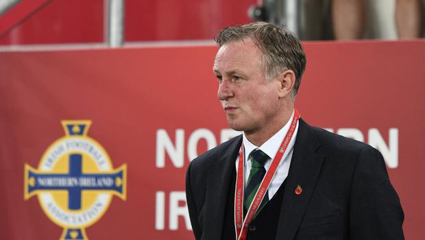 PACEMAKER BELFAST  09/11/2017 Northern Ireland v Switzerland  World Cup Play Off qualifier Northern Ireland Manager Michael O'Neill  during this evenings game at the National Stadium Windsor Park. Photo Colm Lenaghan/Pacemaker Press