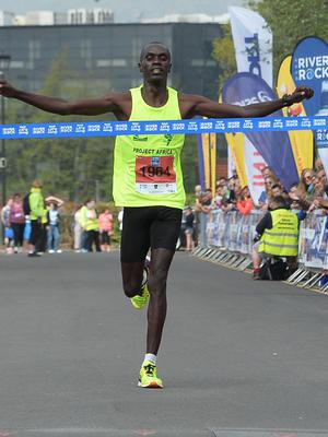 Pacemaker Press 7/5/2018  Eric Koech wins  the 37th annual Belfast City Marathon , on May Bank holiday Monday, with thousands of participants taking part in the Marathon , relay and fun runners. Pic Colm Lenaghan/Pacemaker