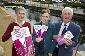Know the  symptoms: Ovarian cancer campaigner Una Crudden  (centre) with Dr Miriam McCarthy (Public Health Agency), and Macmillan GP Adviser, Dr Johnny Browne