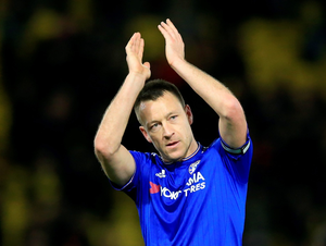 Chelsea's John Terry applauds the fans after the Barclays Premier League at Vicarage Road, London. PA