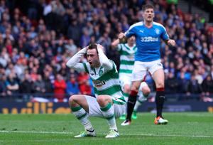 GLASGOW, SCOTLAND - APRIL 17:  Patrick Roberts of Celtic reacts after missing a chance during the William Hill Scottish Cup semi final between Rangers and Celtic at Hampden Park on April 17, 2016 in Glasgow, Scotland.  (Photo by Ian MacNicol/Getty Images)