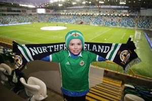 PressEye-Northern Ireland- 24th March  2019-Picture by Brian Little/PressEye  Northern Ireland fan Benjamin Davis, 8, from Newtownards during Sunday night's UEFA EURO 2020 qualifying match at the  National Football Stadium, Windsor Park,Belfast Picture by Brian Little/PressEye