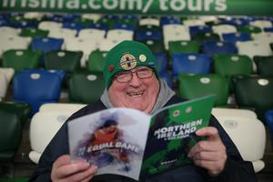 PressEye-Northern Ireland- 24th March  2019-Picture by Brian Little/PressEye  Northern Ireland fan Garth Magee from Ballymoney during Sunday night's UEFA EURO 2020 qualifying match at the  National Football Stadium, Windsor Park,Belfast Picture by Brian Little/PressEye