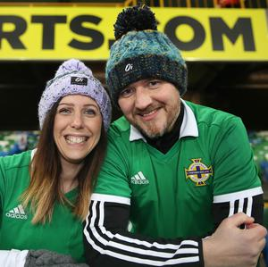 PressEye-Northern Ireland- 24th March  2019-Picture by Brian Little/PressEye  Northern Ireland Melanie Johnston and Andrew Topley from Portadown  during Sunday night's UEFA EURO 2020 qualifying match at the  National Football Stadium, Windsor Park,Belfast Picture by Brian Little/PressEye