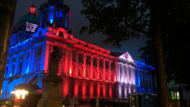 Belfast City Hall illuminated in the colours of Union flag after the Manchester concert bomb attack. Pic: David Young/PA Wire