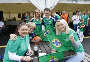 Fans during the Northern Ireland fan zone in association with Vauxhall held at the Titanic Slipways as Northern Ireland take on Poland. ( Photo by Kevin Scott / Presseye)