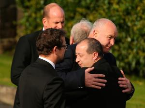 Anthony Foley's Father Brendan (right) is embraced  as the coffin of Munster Rugby head coach Anthony Foley is brought to repose in St. Flannan's Church, Killaloe in Co Clare, ahead off his funeral tomorrow. PRESS ASSOCIATION Photo. Picture date: Thursday October 20, 2016. See PA story DEATH Foley. Photo credit should read: Niall Carson/PA Wire