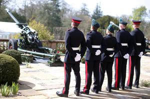 21 gun salute at Hillsborough Castle to mark the Queen's 90th birthday.  Picture by Jonathan Porter/PressEye