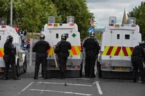 PSNI riot police at the top of the Woodvale Road on the evening of the Twelfth 2015 in Belfast Photo Arthur Allison/Pacemaker