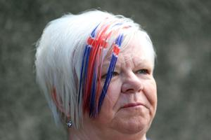 PACEMAKER, BELFAST, 13/7/2020: A Union Jack hairstyle for watching the bands parade around the streets in the Shankill area of Belfast today. The Orange Order did not take part in their traditional Twelfth of July processions this year because of the restrictions around Coronavirus but there were band parades around local areas across Northern Ireland. PICTURE BY STEPHEN DAVISON