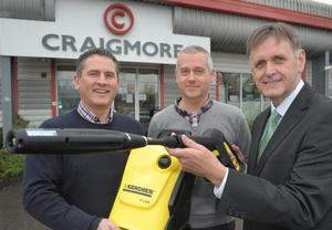 Pictured (L-R) are Geoff Baird, Managing Director of Craigmore Industrial and Engineering Solutions, Stephen Ellis from Webappy who designed Craigmores website and Invest NI's Southern Regional Manager, Mark Bleakney. Photo by Aaron McCracken/Harrisons