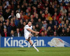 Ulster's Ian Humphreys takes a kick during the match against the Cardiff Blues at the Kingspan Stadium.  Picture by Darren Kidd / Press Eye.